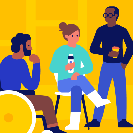 Illustration of a diverse group of folks attending an event and holding beverages, and one of them is a man in a wheelchair