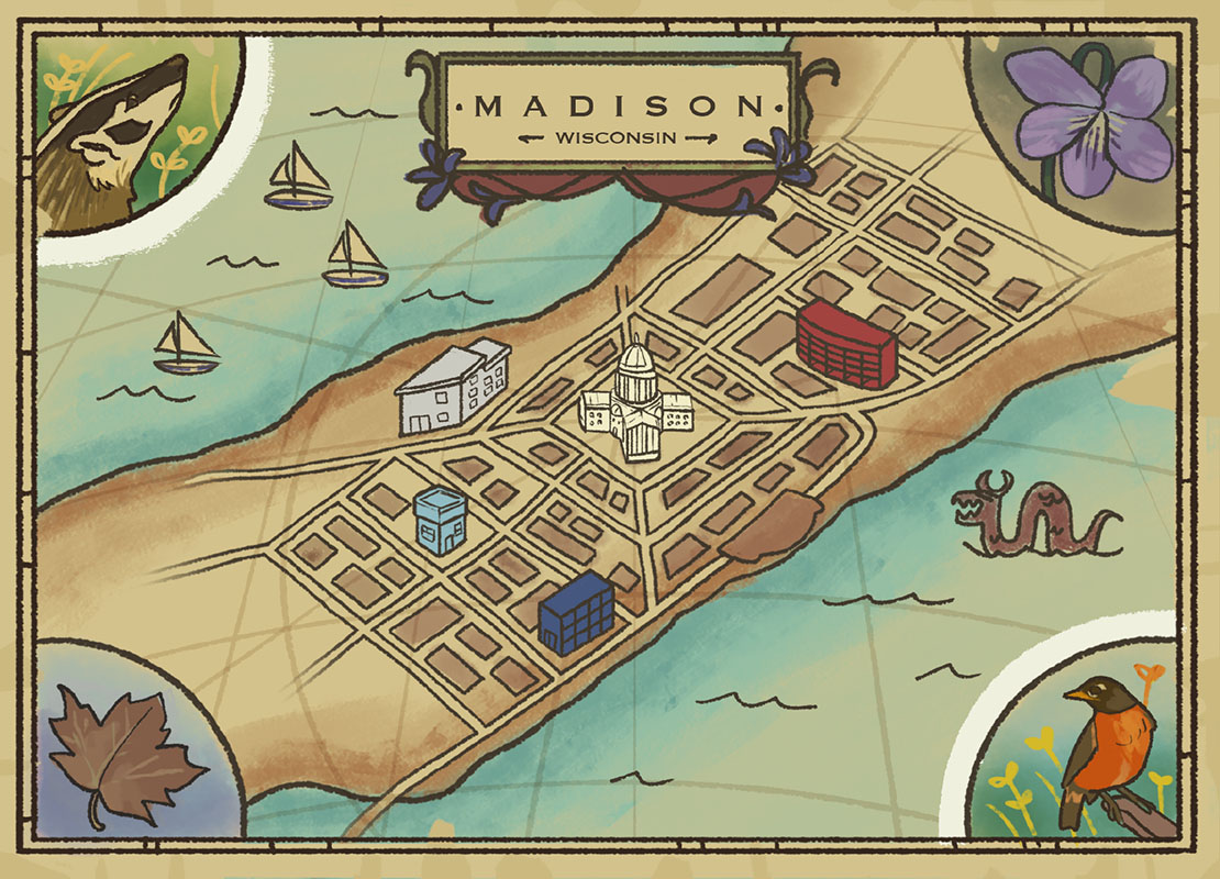 Illustrated map of Madison, Wisconsin