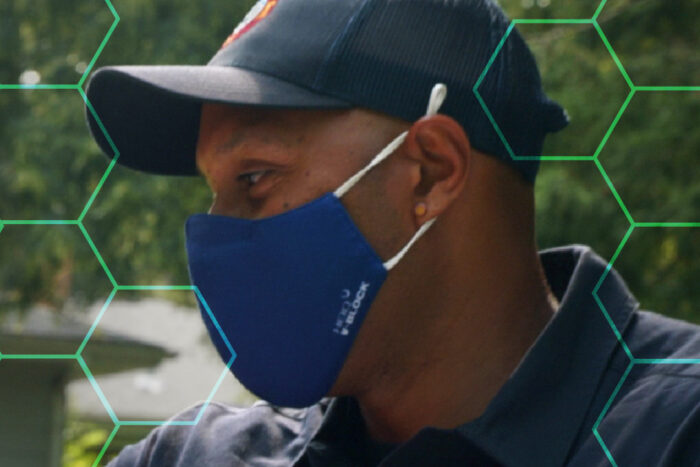 Person wearing mask to protect from virus